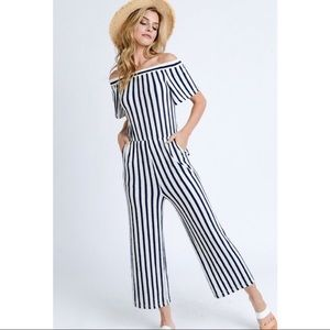 Navy and White Striped Off the Shoulder Jumpsuit
